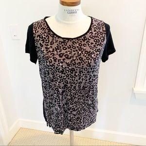 Loft black leopard print shirt Large